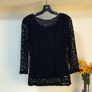 LAST CHANCE Forever Fashion Black Lace LS Top S